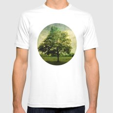 The Textured Tree  SMALL White Mens Fitted Tee