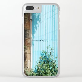 Blue Corrugated Metal and Plant Life Against a Glasgow Tenement Building Clear iPhone Case