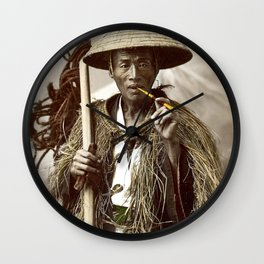 Kusakabe Kimbei - Man with Raincoat - Original old vintage retro Photography from Japan Wall Clock