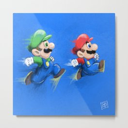 Mario and Luigi Metal Print