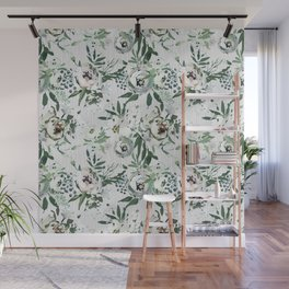 Green white blush pink watercolor geometrical floral Wall Mural