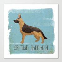 german shepherd Canvas Prints featuring German Shepherd by 52 Dogs