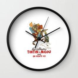 Les Albums Tintin and Milou Sont en Vente Icı Wall Clock
