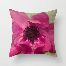 Pink Anemone on Linen Texture Throw Pillow