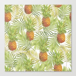 Watercolor tropical pineapple pattern Canvas Print