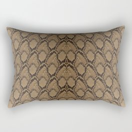 Bronze Brown and Black Python Snake Skin Rectangular Pillow