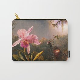 Martin Johnson Heade Cattleya Orchid and Three Brazilian Hummingbirds Carry-All Pouch
