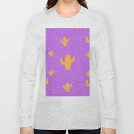 Mustard Cactus White Poka Dots in Purple Background Pattern Long Sleeve T-shirt