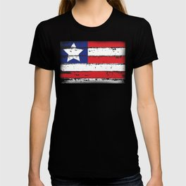 Wood Grain American Flag 4th of July with Fade Print T-shirt