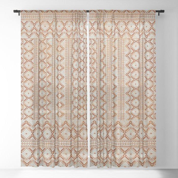 kilim geo in sand Sheer Curtain