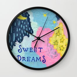 Sweet Dreams, Moon and Stars Painting, Child's Room Decor, Pink, Yellow, Blue Wall Clock