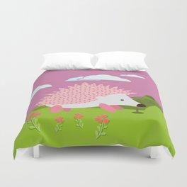 Hedgehog , Purple , flowers , nursery decor Duvet Cover