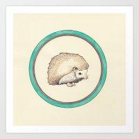 hedgehog Art Prints featuring Hedgehog by Joan Horne