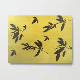 Yellow, Black Leaves Metal Print