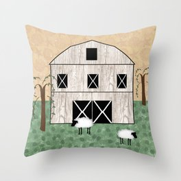 Primitive Barn Throw Pillow