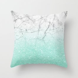 Azure Glitter and Grey Marble Throw Pillow
