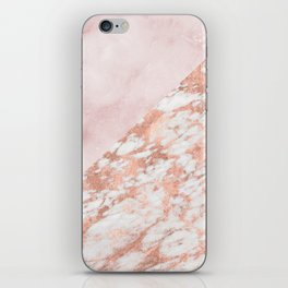 Rose gold & pinks marble iPhone Skin