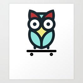Owl Skateboarding Skateboarder Nocturnal Birds Night Hunter Animals Wildlife Wilderness Gift Art Print