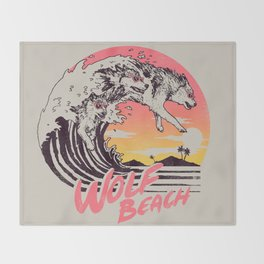 Wolf Beach Throw Blanket