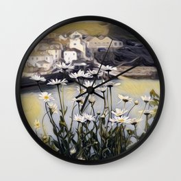 Sea view of daisies Wall Clock