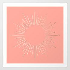 Simply Sunburst in White Gold Sands on Salmon Pink Art Print