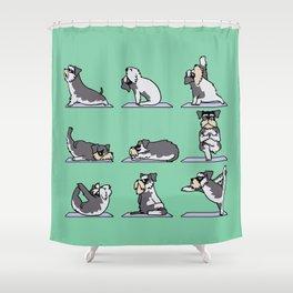 Miniature Schnauzer yoga Shower Curtain