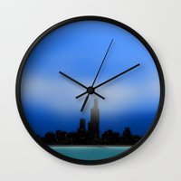 chicago Wall Clocks featuring Chicago by dBranes