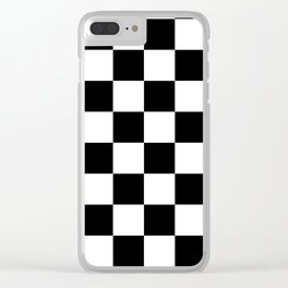 Check (Black & White Pattern) Clear iPhone Case