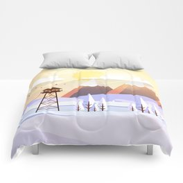 Vector Art Landscape with Fire Lookout Tower Comforters