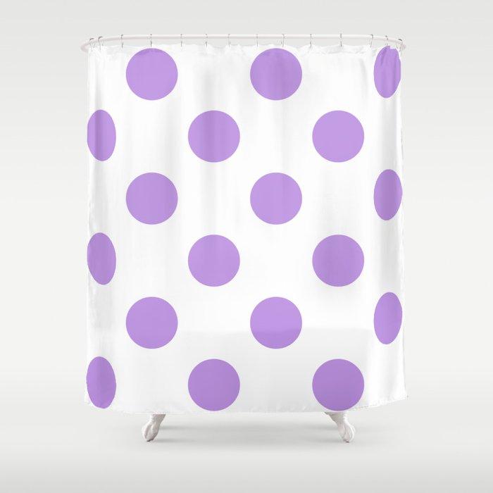 Large Polka Dots - Light Violet on White Shower Curtain