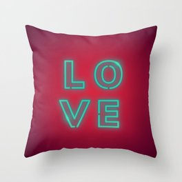 Love design neon sign Throw Pillow