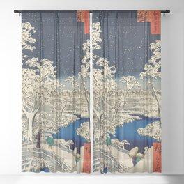 Ukiyo-e, Ando Hiroshige, Yuhi Hill and the Drum Bridge at Meguro Sheer Curtain