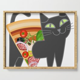 Cat loves pizza Serving Tray