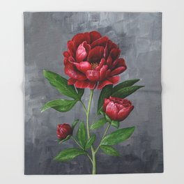 Red Peony Flower Painting Throw Blanket