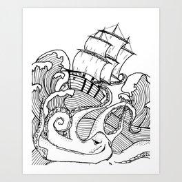Octopus and the Dark Sea Art Print