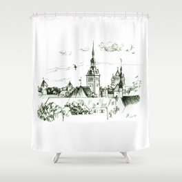 Medieval landscape. Shower Curtain