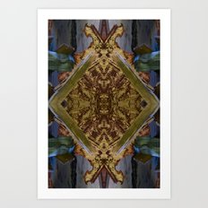 Green/Gold Ceiling Tile (Abstract) Art Print