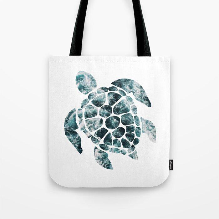 Sea Turtle - Turquoise Ocean Waves Tote Bag
