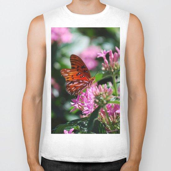 Butterfly In Pink Biker Tank