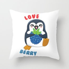 I Love You Berry Much Cute Penguin I Love You Pun Throw Pillow