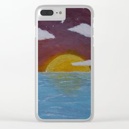 Oceanside Sunrise -Acrylic Nature Painting Clear iPhone Case