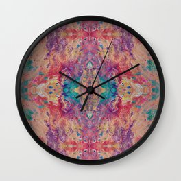 Psycho - Peachy Keen Flow Pattern with a Touch of Turquoise and Violet by annmariescreations Wall Clock