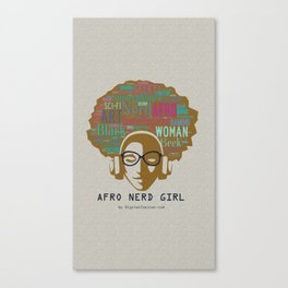 Afro Nerd Girl (Colours) Canvas Print
