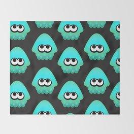 Splatoon Squid Pattern Cyan Throw Blanket