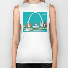 St. Louis, Missouri - Skyline Illustration by Loose Petals Biker Tank