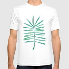 Long Palm frond Mens Fitted Tee MEDIUM White