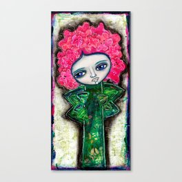 Mixed Media Flower Girl 2 Blue Canvas Print