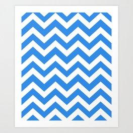 Bleu de France - turquoise color - Zigzag Chevron Pattern Art Print