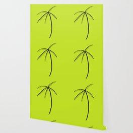 Palm Tree Illustration Neon Green Wallpaper