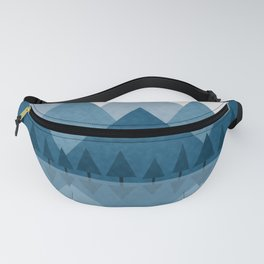 Calming Winter Abstract Geometric Mountains and Pine Trees with Reflections in Blue and Beige Tones Fanny Pack